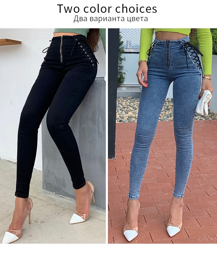 High Waist Washed Hip Lift Skinny Denim Jeans For Women
