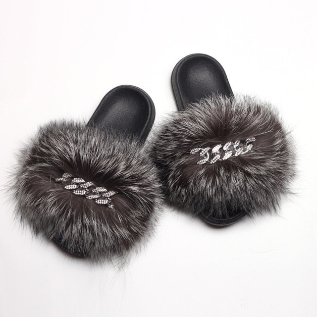 Fluffy Diamond Chain Real Fur Flat Slippers For Women