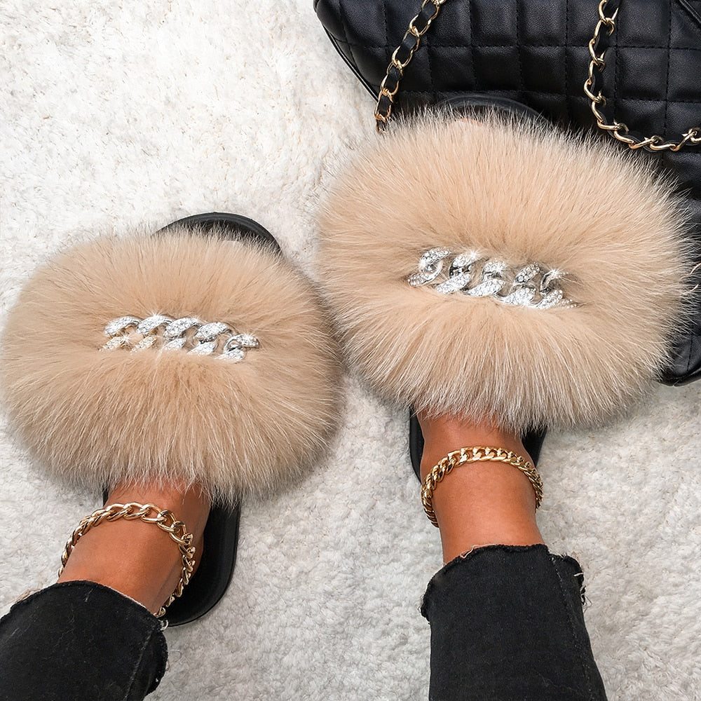 Fluffy Diamond Chain Real Fur Flat Khaki Slippers For Women