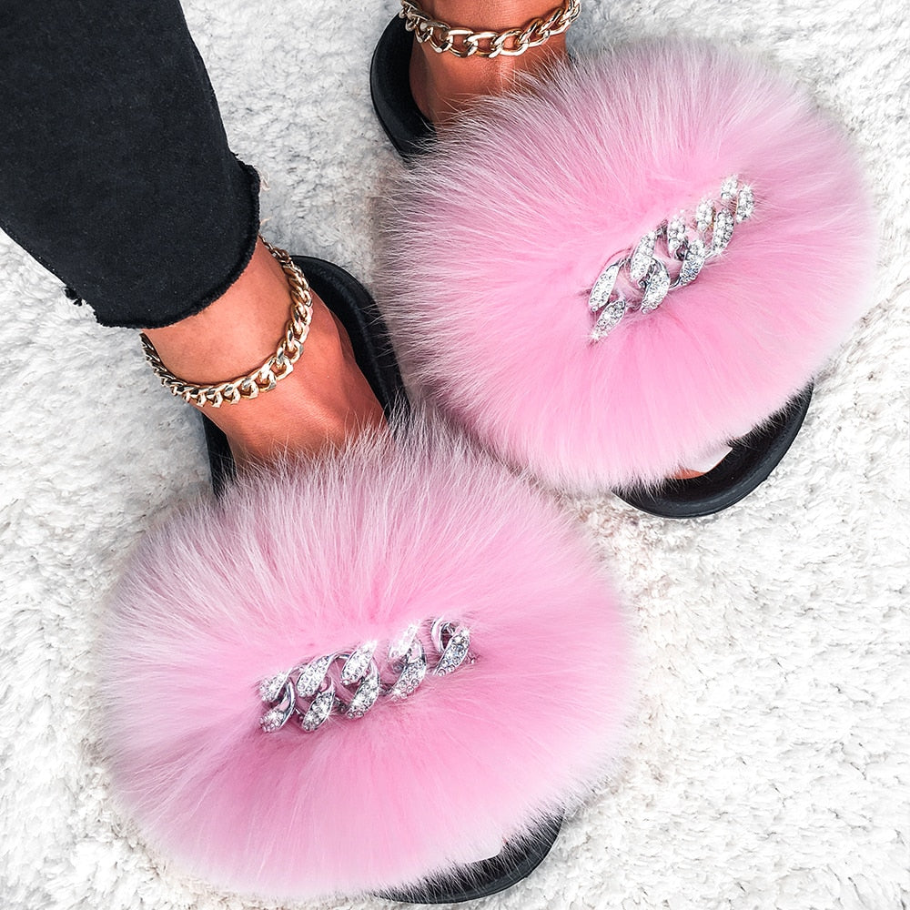 Fluffy Diamond Chain Real Fur Flat Pink Slippers For Women
