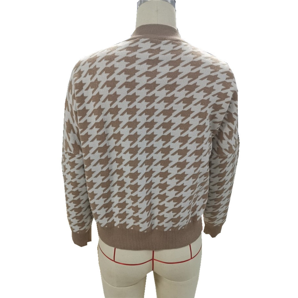 Retro Houndstooth Geometric Knitted Women's Jumper