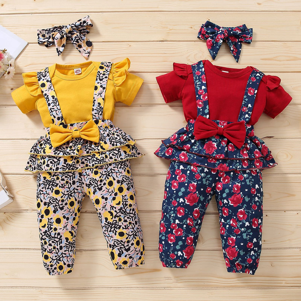 Short-Sleeve Ruffle Floral Baby Girls Romper With Bow Overalls