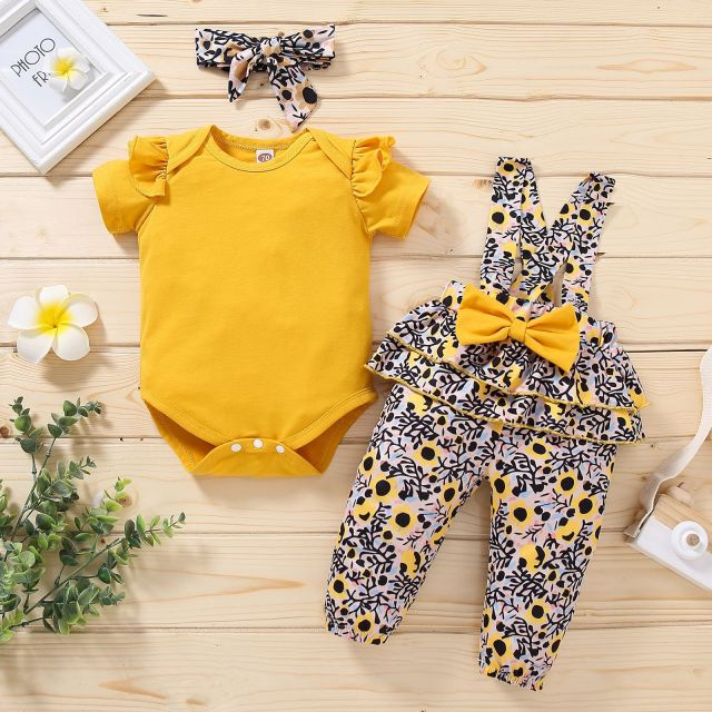 Short-Sleeve Ruffle Floral Baby Girls Yellow Romper With Bow Overalls