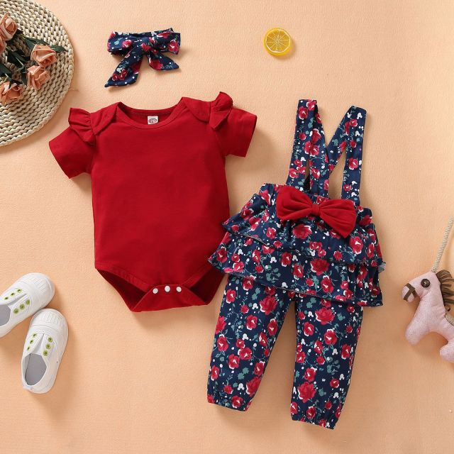 Short-Sleeve Ruffle Floral Baby Girls Red Romper With Bow Overalls