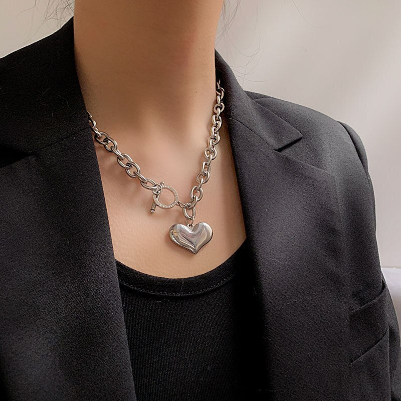 Punk Style Stainless Steel Heart Pendant Necklace For Women