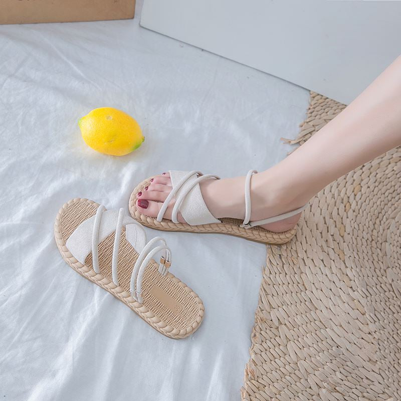 Slip-On Cross-Strap Flat Summer Flock Women's Sandals
