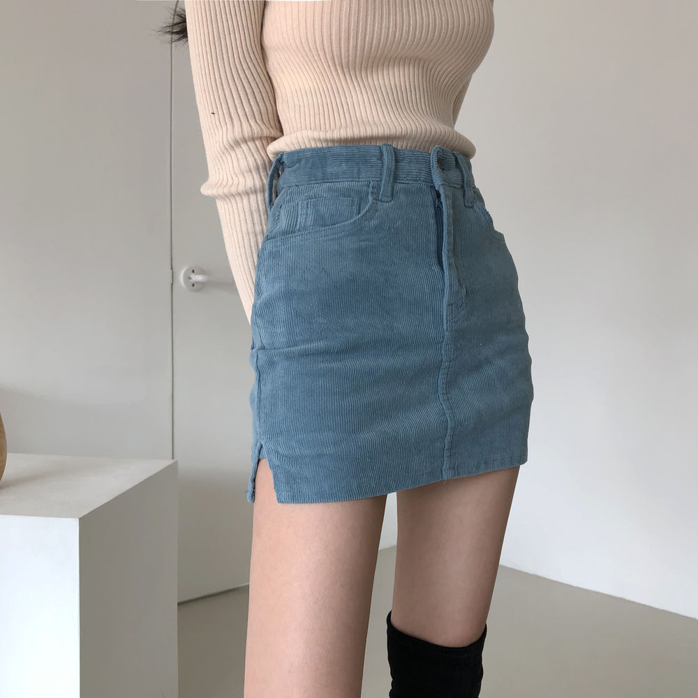 Vintage Bodycon Corduroy Split Blue Women's Mini Skirt