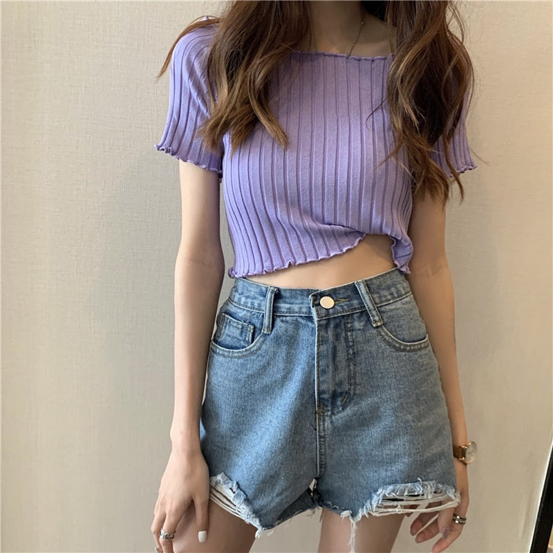 Off Shoulder Stretchy Ruffles Hem Knitting Purple Crop Tops For Women
