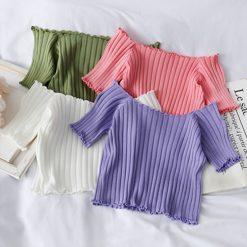 Off Shoulder Stretchy Ruffles Hem Knitting Crop Tops For Women