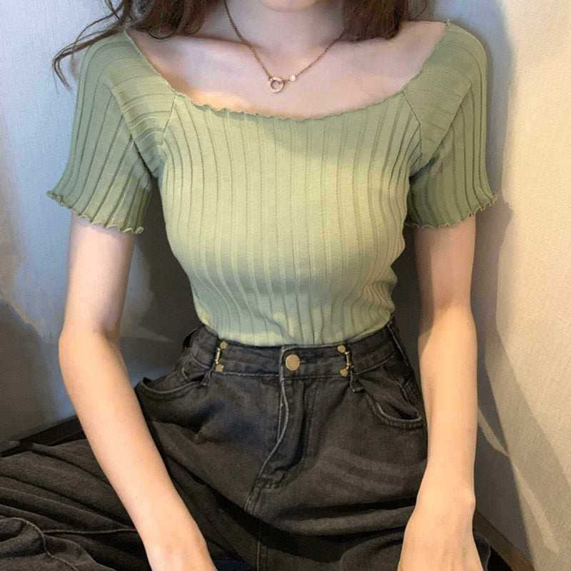 Off Shoulder Stretchy Ruffles Hem Knitting Green Crop Tops For Women