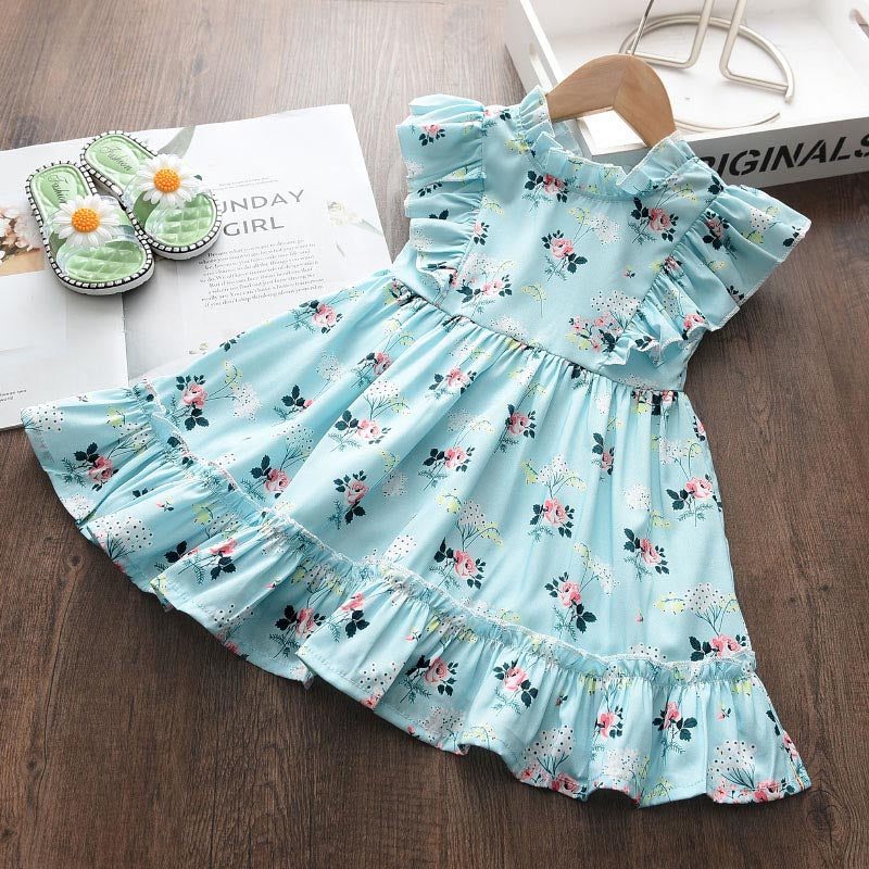Sweet Sleeveless Ruffles Flowers Printed Girls Dress