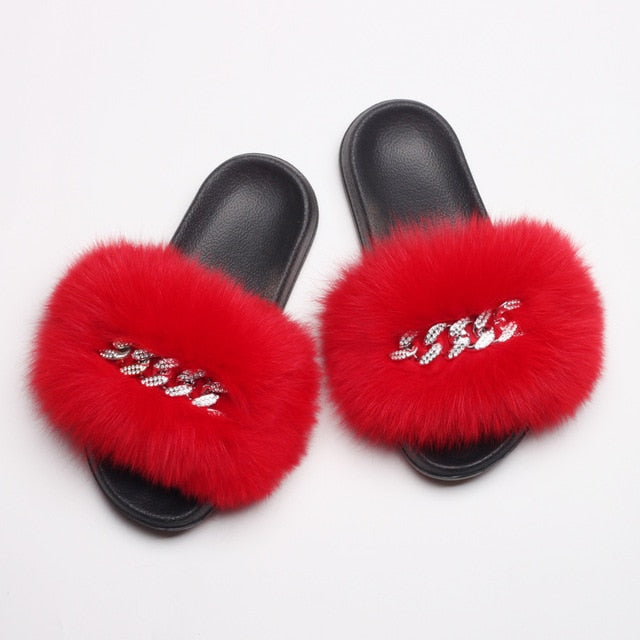 Fluffy Diamond Chain Real Fur Flat Red Slippers For Women