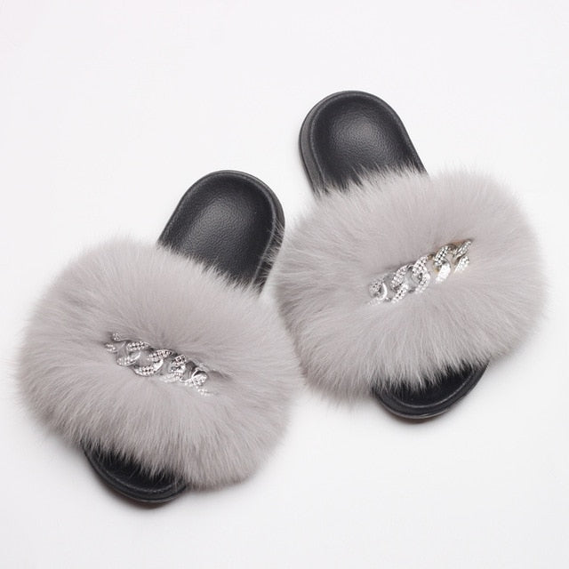 Fluffy Diamond Chain Real Fur Flat Gray Slippers For Women