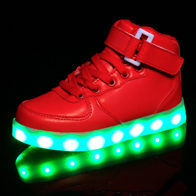 Unisex USB Rechargeable LED Light Up Sole Red Sneakers
