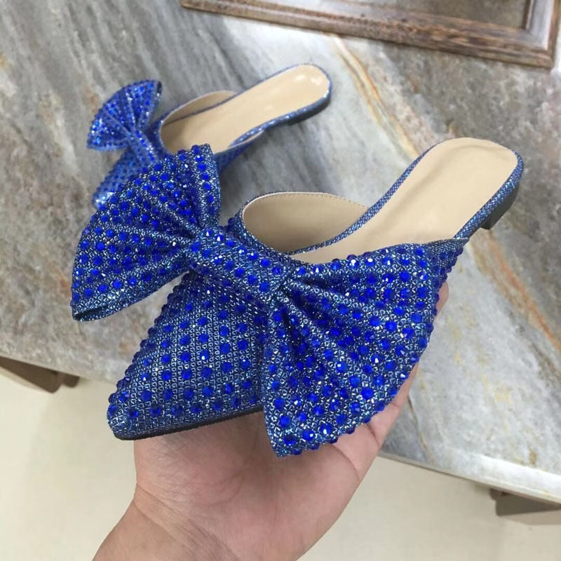 Super Flash Bow Rhinestone High Heel Summer Blue Women's Slippers