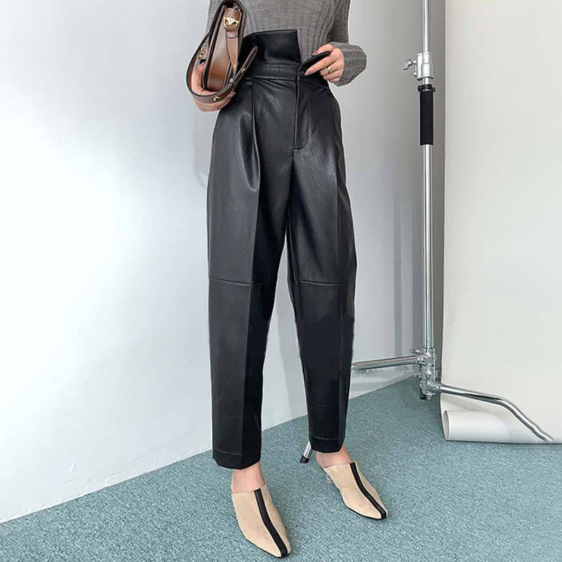 High Waist PU Leather Ankle Length Black Harem Pants For Women