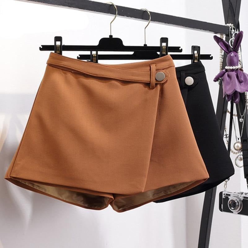 Irregular High Waist Slim Wide Leg Shorts For Women