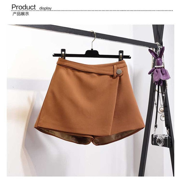 Irregular High Waist Slim Wide Leg Khaki Shorts For Women