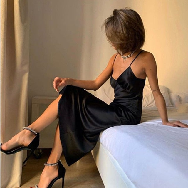 Spaghetti Strap Deep V Neck Straight Satin Black Party Dress
