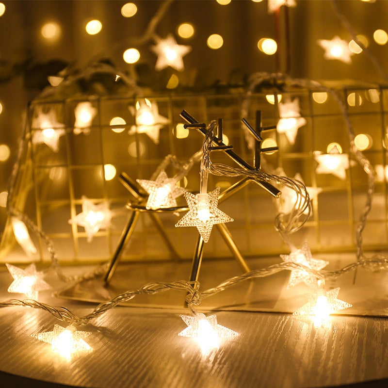 Battery Powered 10/20 LED Star Light String Twinkle Garlands