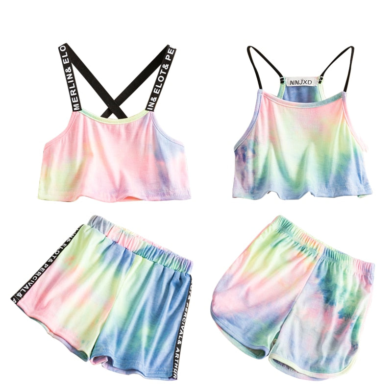 Backless Rainbow Printed Girls Crop Top & Short Pants