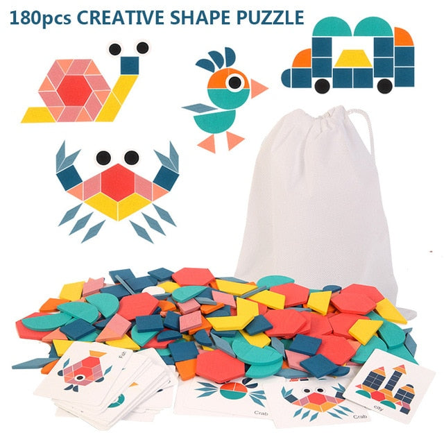 Clever Wooden 3D Geometric Shape Jigsaw Puzzle Toy