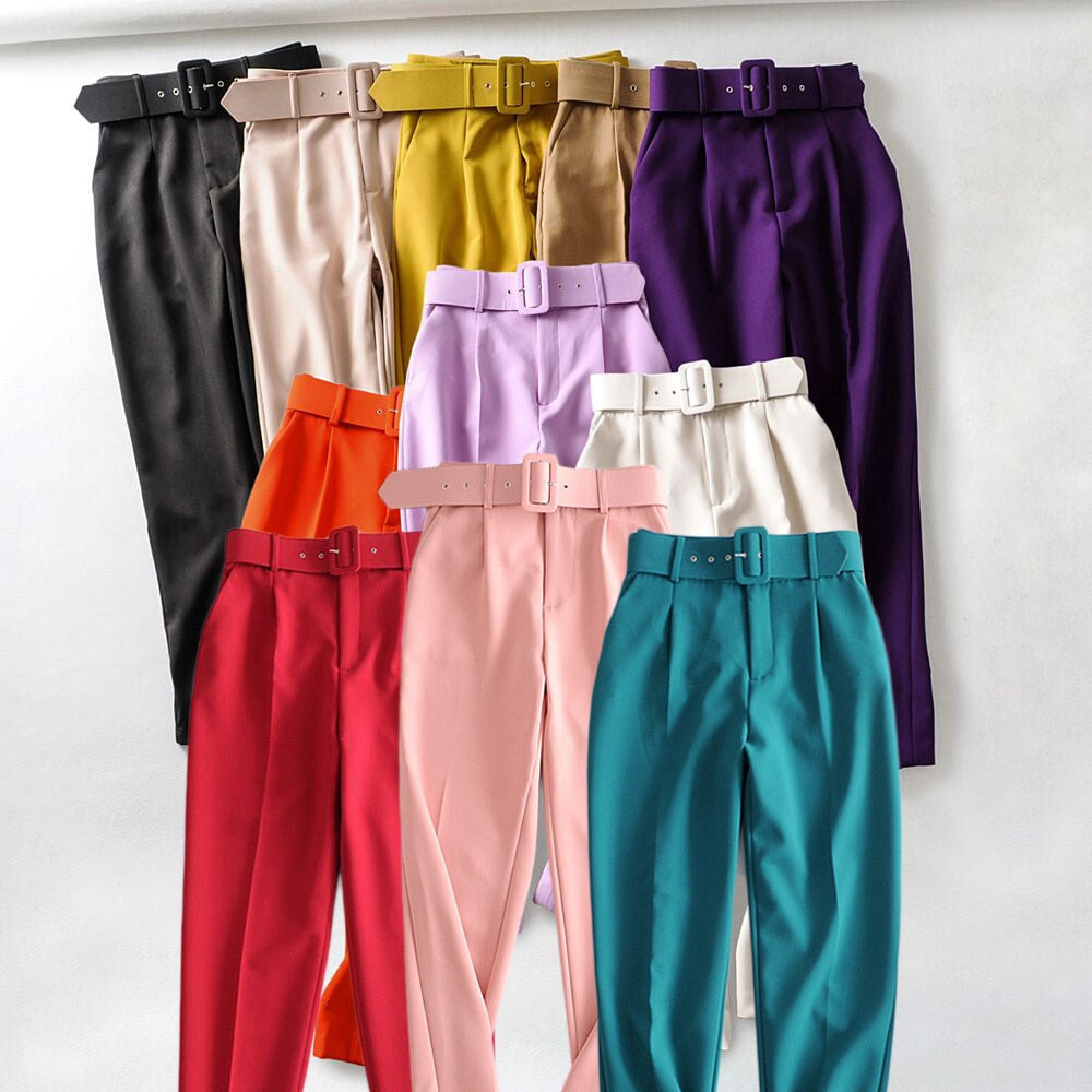 Retro High Waist Solid Color Sashes Slim Women's Pants