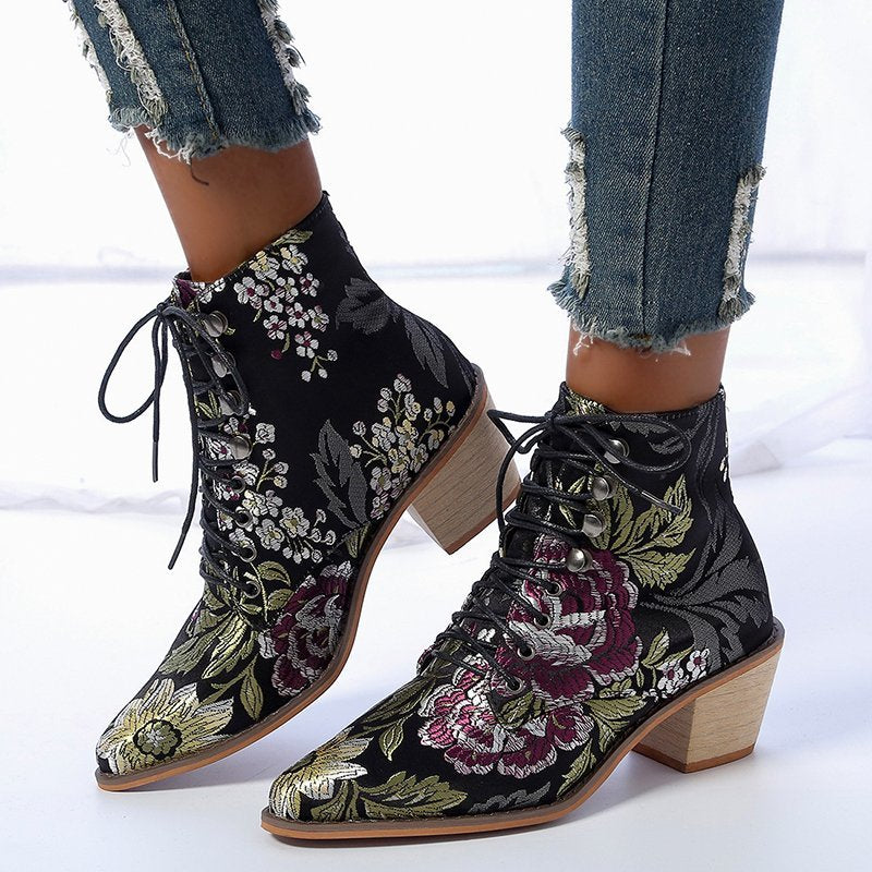 Floral Embroidery Silk Women's Black Martin Ankle Boots