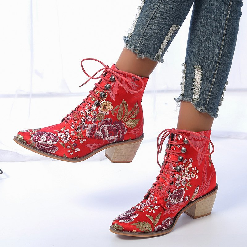 Floral Embroidery Silk Women's Red Martin Ankle Boots