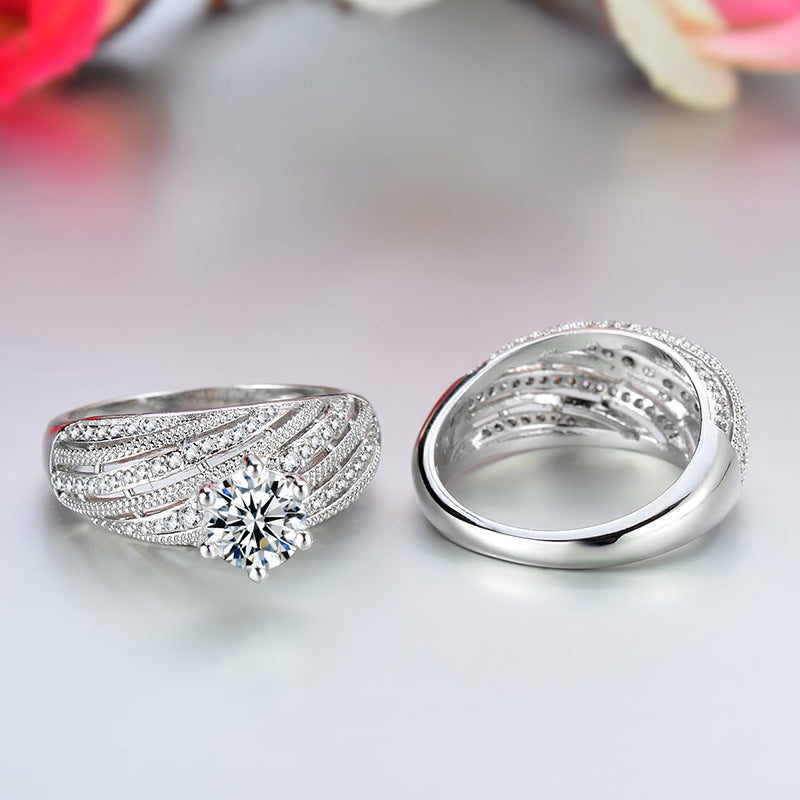 Luxury Silver Color Women's Wedding Ring Set
