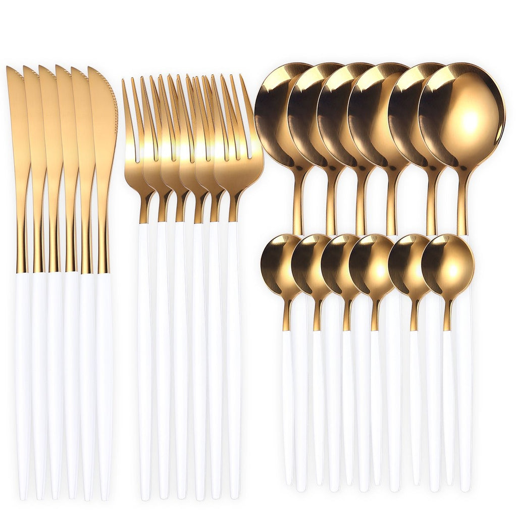 24Pcs Stainless Steel Gold Dinnerware Set