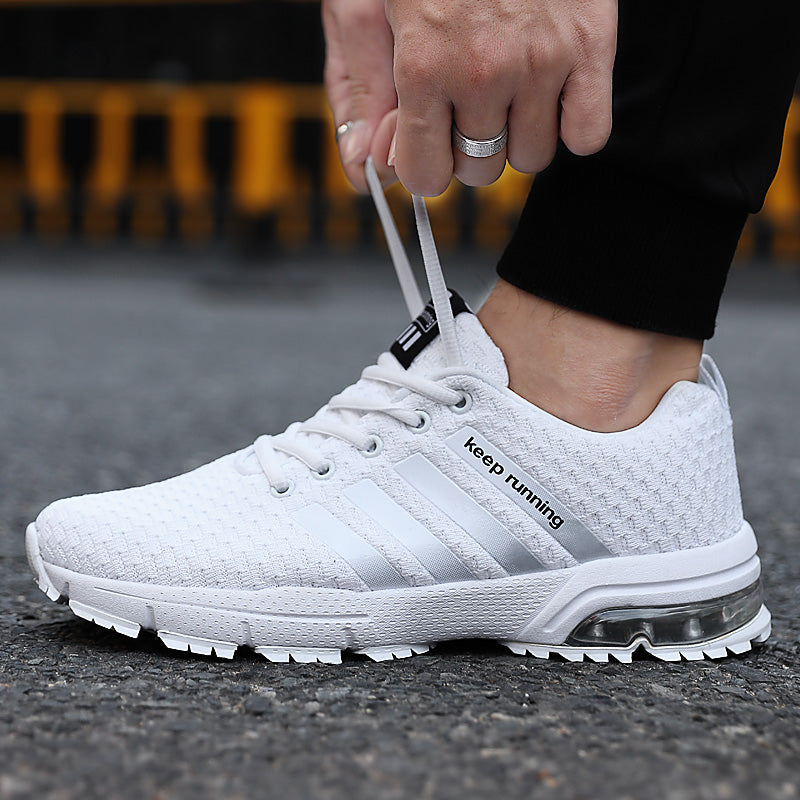Breathable Mesh Air Men's White Sneakers