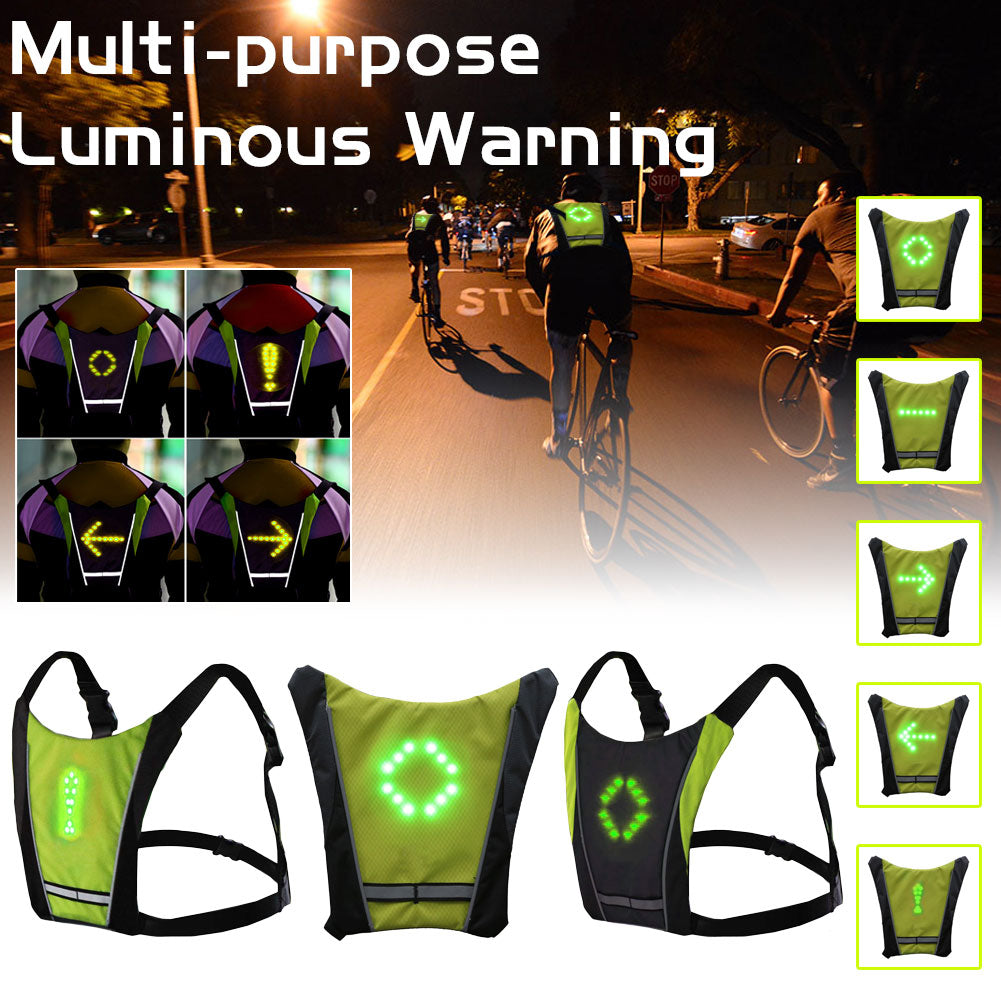 Wireless LED Reflective Safety Cycling Vest With Remote Control