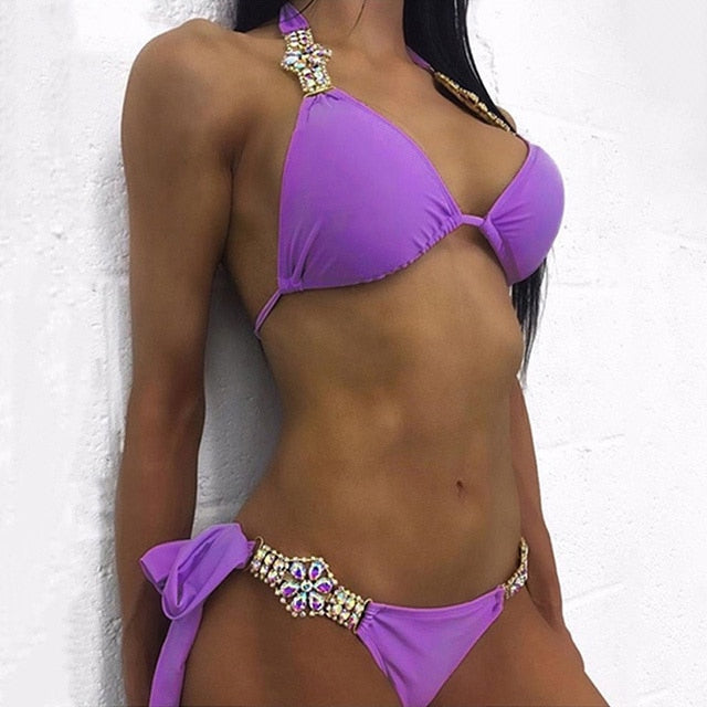 Crystal Rhinestone Metal Chain Women's Bikini Set