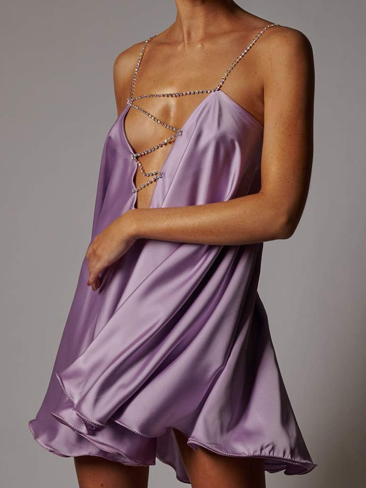 Crystal Diamante Chain Straps Low Back Satin Lila Swing Dress With Iridescent