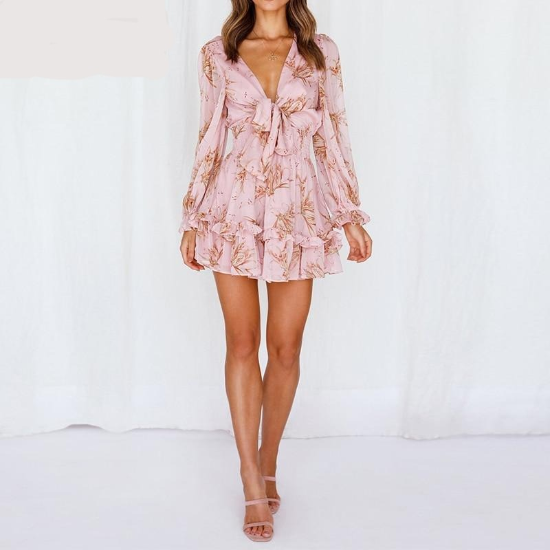 A-Line Self-tie Knot Front Ruffles V-Neck Mini Dress