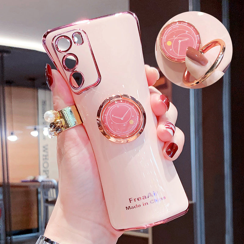 Soft Plated Phone Case Fir Samsung Devices With Finger Ring Bracket Holder