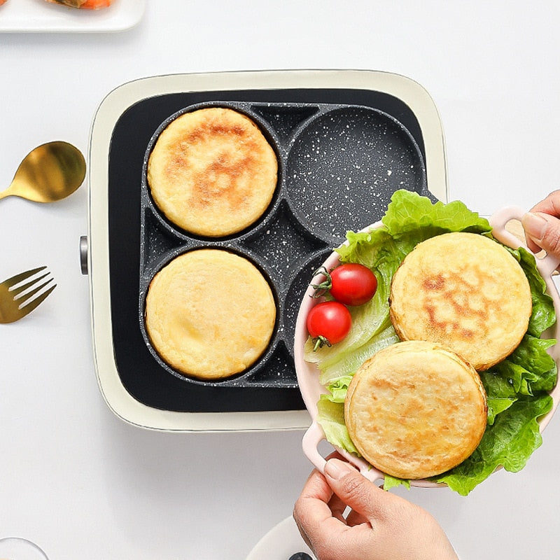 Non-stick Thickened Four-hole Frying Pot With Wooden Handle