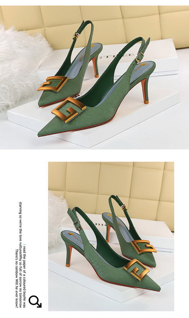 Hollow Shallow Tip Fine High Heel Metal Buckle Women's Shoes