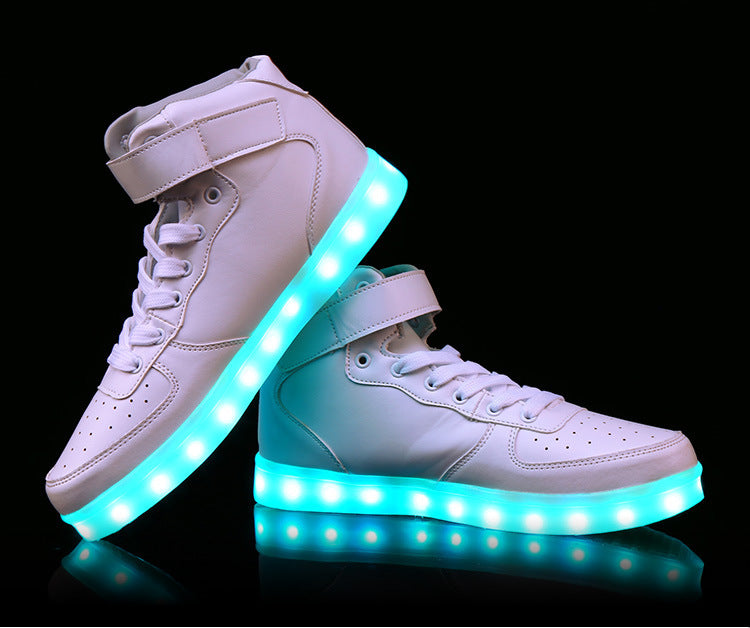 Unisex USB Rechargeable LED Light Up Sole White Sneakers