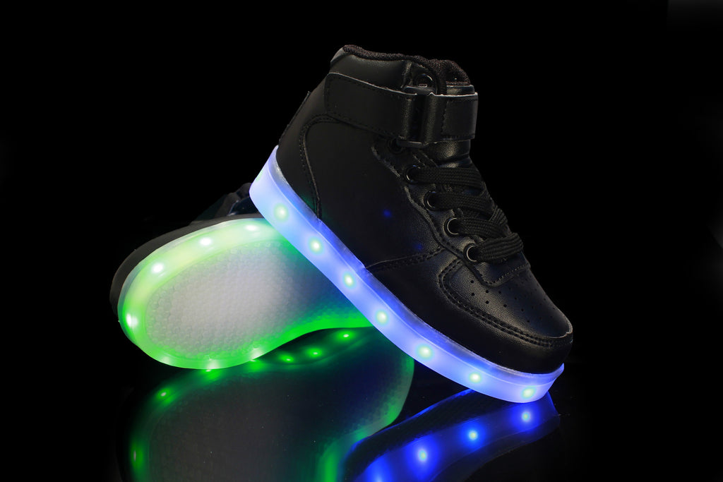 Unisex USB Rechargeable LED Light Up Sole Black Sneakers