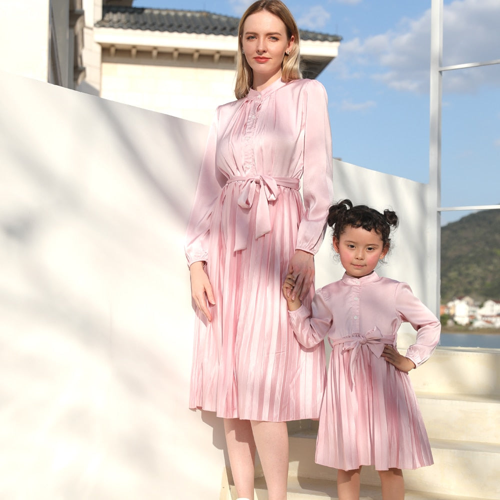 Long Sleeve V-neck Sequined Mother & Daughter Matching Pink Dress
