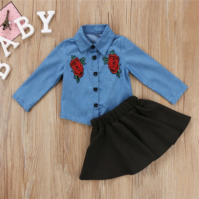 Floral Jeans Tops & Tutu Skirt For Baby Girls