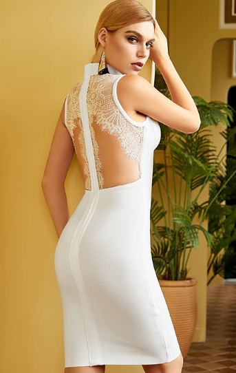 Hollow Out Backless Bandage Lace Midi White Dress