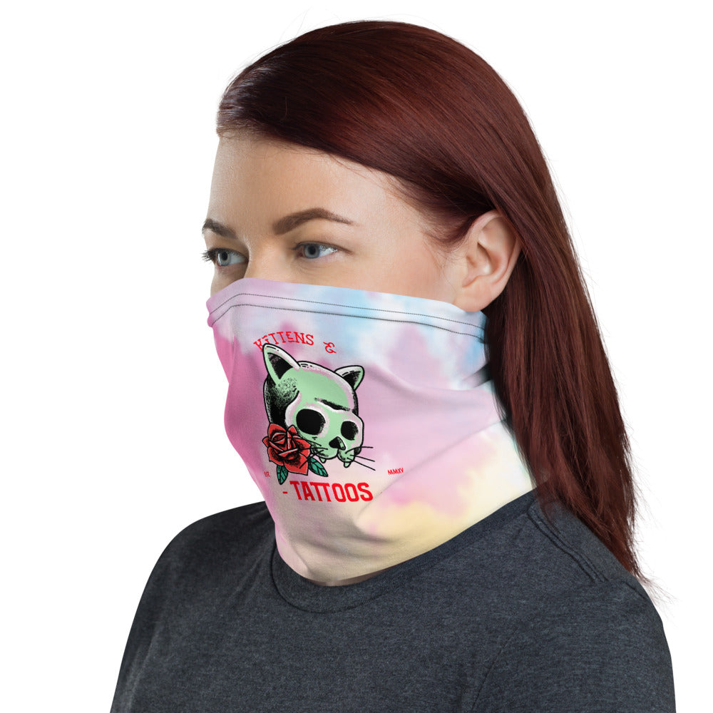 Kittens and tattoos tie-dye Neck Gaiter