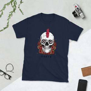Old School Punk Rock Mohawk till Death Skull Unisex T-Shirt