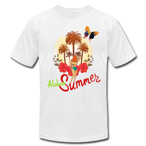 Aloha Summer Unisex Jersey T-Shirt by Bella + Canvas - white