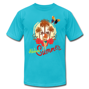 Aloha Summer Unisex Jersey T-Shirt by Bella + Canvas - turquoise