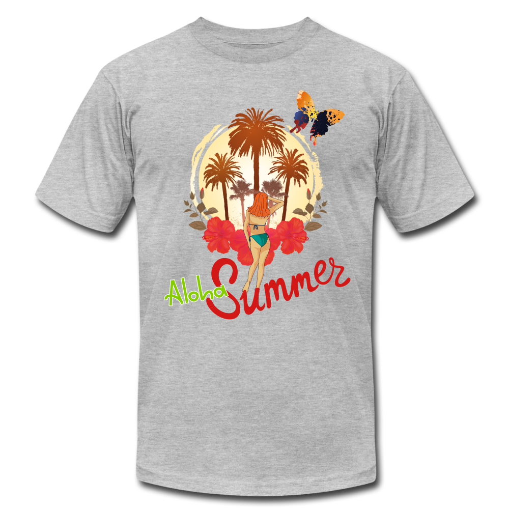 Aloha Summer Unisex Jersey T-Shirt by Bella + Canvas - heather gray