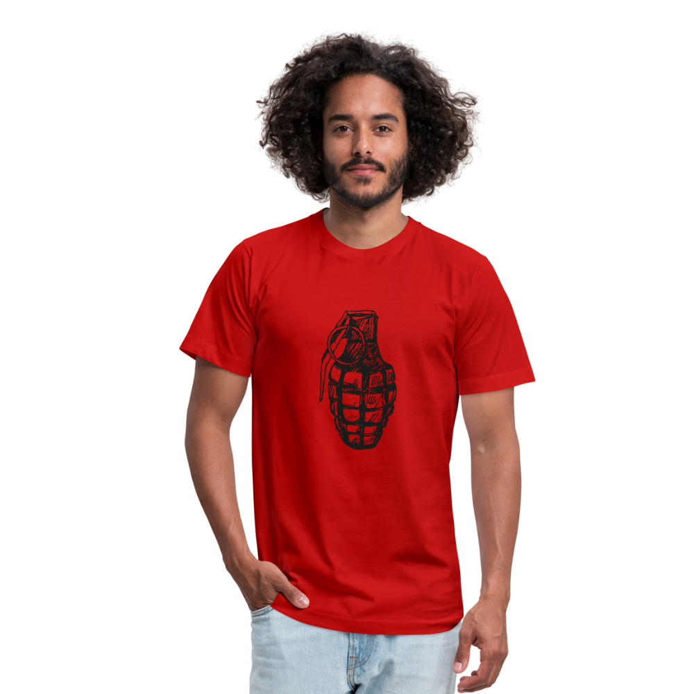 Grenade Unisex Jersey T-Shirt by Bella + Canvas - red